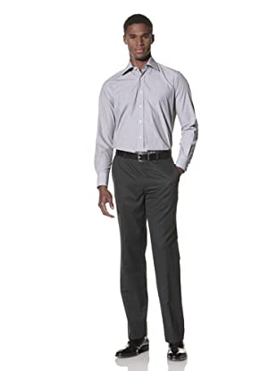 Valentino Men's Dress Shirt (Light Grey/White Stripe)