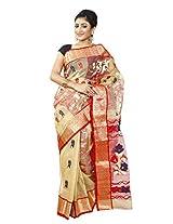 B3Fashion Traditional Ethnic Bengal Pure Tussar Silk Beige Handloom Saree