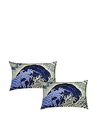 JAPAN MANIA by MANIFATTURE COTONIERE Kopfkissenbezug 2er Set Katsushika Hokusai-Feminine Wave