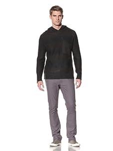Comune Men's Maddox Ombre Striped Hooded Sweater (Black)