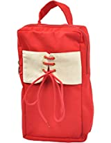 Fair Brigade Red & White Shoe Bag With Stitched Flap(Handmade From Canvas)