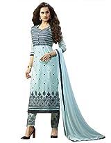 BlueWoman sky blue dress material