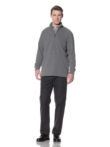 Hart Schaffner Marx Men's Quarter Zip Pullover Sweater (Grey)
