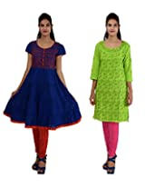 Anpassa Women's Cotton Green and Blue Kurti Combo Set - Medium