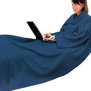 【防災グッズ 防災用品 災害対策 非常用】袖付き毛布 袖付 着る毛布 長さ180cm ポケット付 袖付きブランケット ブルー(X395-S2)