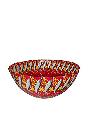 Asian Loft Handcrafted Lucky Tuna Paper Mache Bowl, Red