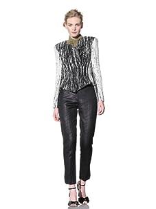 Bensoni Women's Scratched Wool Peplum Jacket (Black/White)