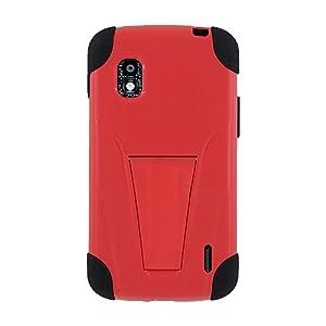 Amzer 95450 Double Layer Hybrid Case with Kickstand - Black/ Red for Google Nexus 4 E960, LG Nexus 4 E960
