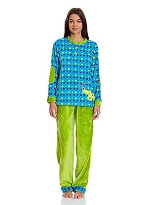 Muslher Pijama Señora Cuello Redondo Tira  Cuadros Bord (Azul)