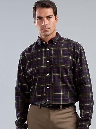 Cortefiel Camisa Cuadros (verde / azul marino)
