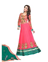 Anvi Creations Carrot Pink Georgette Dress Material ( Carrot Pink_Free Size)