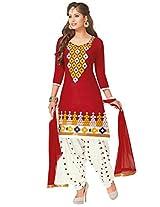 Salwar Studio Red & White Cotton Dress Material with Dupatta Royal Patiyala-5002