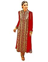 Ninecolours Faux Georgette Pant Style Embroidery Suit in Red Colour