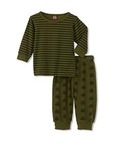 Red Wagon Baby Boy's Tonal Long Sleeve Wagon Tee with Thermal Pant (Army)