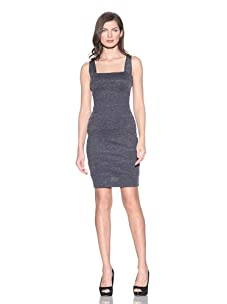 Andrew Marc Collection Women's Sleeveless Square Neck Panel Sheath Dress (Atlantic Blue)