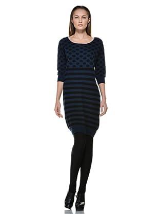 Fairly Vestido Estampado (Negro / Azul)