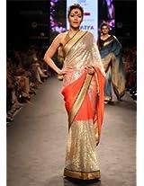 Ethnic Trend Georgette Bollywood Replica Saree - 5320 (Silver/Peach)