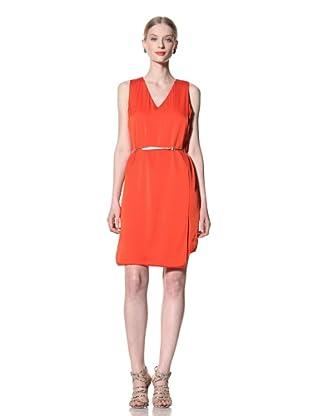 Pink Tartan Women's V-Neck Folded Dress (Orange)