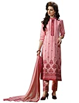 BanoRani Light Peach Color Cotton Embroidery Semi Stitched Salwar Suit (Pant Style)