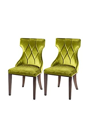International Design Reine Set of 2 Dining Chairs, Olive Green