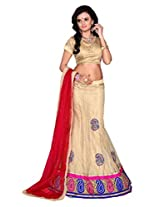 Surupta Cream Coloured Self Design Women's Lehenga Choli