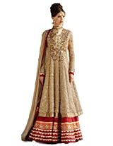 Georgette Semi Stitched Anarkali Salwar Kameez In Beige Colour
