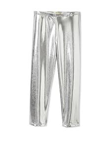 Lunchbox Girl's Faux Leather Liquid Leggings (Silver)