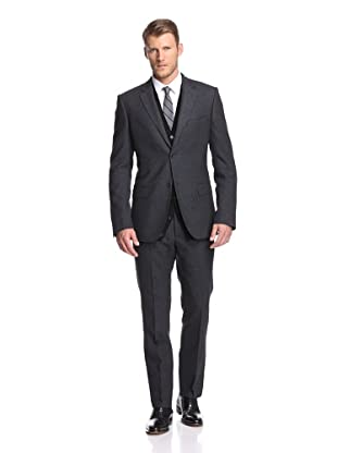 Calvin Klein Collection Men's Hudson 2-Button Suit (Charcoal Heather)