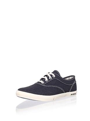 SeaVees Women's Volunteer Plimsoll Sneaker (Navy Linen/Suede)