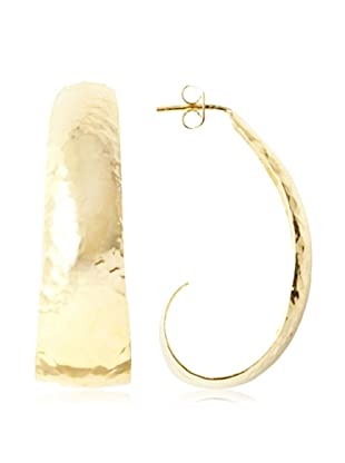 Argento Vivo Oval Hammered Hoop Earrings