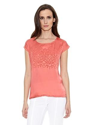 Cortefiel Camiseta Bordada Delant (Rojo)