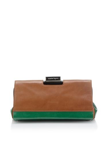 Nanette Lepore Colorblock Clutch, Green/Brown/Black