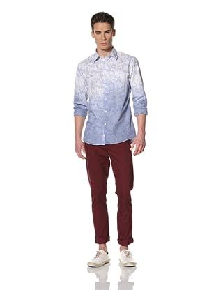 Benson Men's Long Sleeve Woven Shirt (Blue Floral)