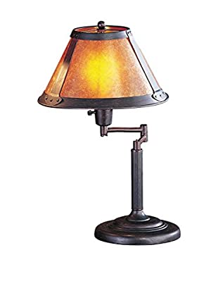 Bristol Park Lighting Swing Arm 1-Light Table Lamp With Mica Shade, Rust