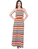 Purys Women's Maxi Dress (E-150649SP-2794_Orange Black White_XL)