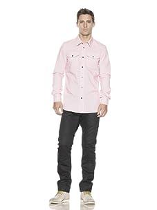 J.C. Rags Men's Striped Button-Front Shirt (Vegas Pink)