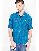 Checks Blue Casual Shirt Locomotive