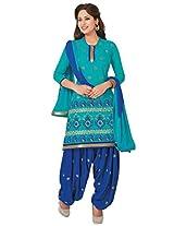 Salwar Studio Mint Blue & Royal Blue Cotton Dress Material with Dupatta Royal Patiyala-5012