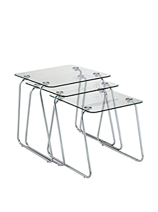 Adesso Set of 3 Slice Nesting Tables (Chrome)