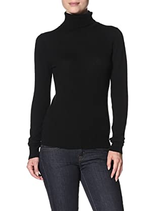 Cashmere Addiction Women's Long Sleeve Turtleneck Sweater (Black)