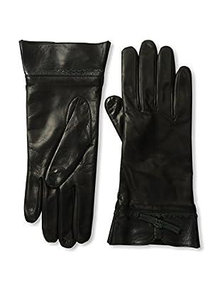 Portolano Women's Leather Gloves with Contrast Bow (Black/Dark Pine)
