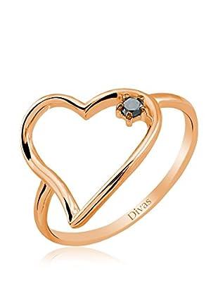 Divas Diamond Anillo Black Diamond Heart (Oro)