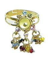 DollsofIndia Light Green Stone Studdd Adjustable Ring with Beaded Jhalar - Stone and Metal - Green