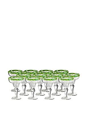 Artland Mingle Set of 12 Margarita Glasses, Green