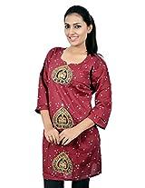Kala Sanskruti Women's Cotton Silk Red Kurti