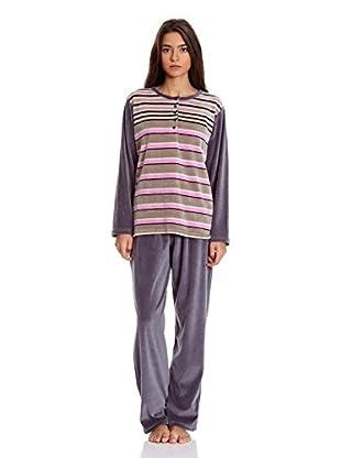 Muslher Pijama Sra Con Tapeta (Gris)