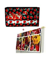 Refrigerator Top Cover Fruits & 17 - 20 L Microwave Cover Blue Flower