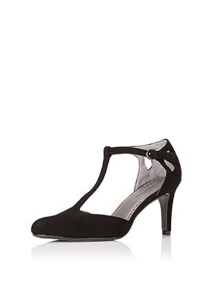 Adrienne Vittadini Footwear Women's Prima T-Strap Pump (Black/suede)