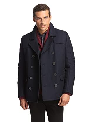 Andrew Marc Men's Double-Breasted Pea Coat (Navy)