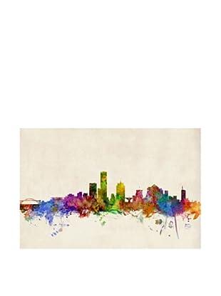 Trademark Fine Art Milwaukee Watercolor Skyline by Michael Tompsett